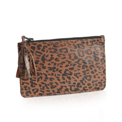 Set of 2 - Genuine Leather Chocolate Colour Leopard Pattern and Bronze Colour Pouch with Tassels (Size 20x12 Cm)