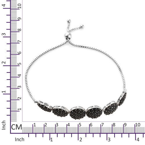 Red Carpet Collection- Pave Set Boi Ploi Black Spinel (Rnd) Bolo Bracelet (Size 6.5 - 9.5 Adjustable) in Platinum Overlay Sterling Silver 6.750 Ct,