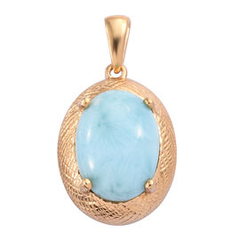 Larimar (Ovl 16x12 mm) Pendant in 14K Gold Overlay Sterling Silver 9.50 Ct.