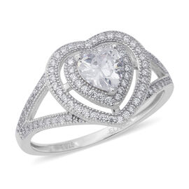 ELANZA Simulated Diamond (Hrt and Rnd) Ring in Rhodium Overlay Sterling Silver