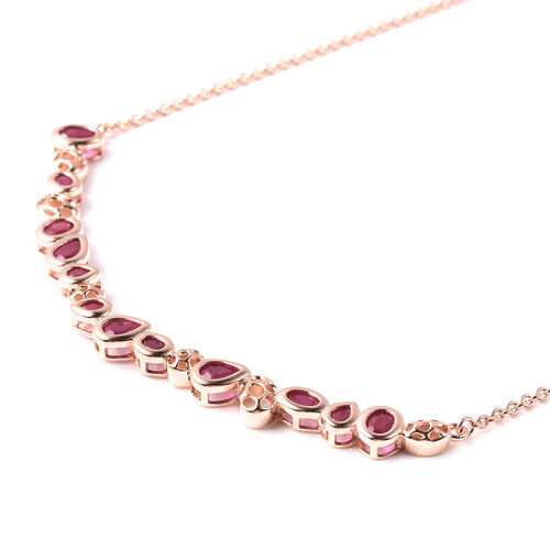 RACHEL GALLEY Misto Collection - African Ruby  Necklace (Size 20) in Rose Gold Overlay Sterling Silver 4.83 Ct, Silver wt. 10.29 Gms