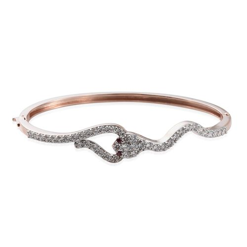 J Francis - Rose Gold Overlay Sterling Silver (Rnd) Serpentine Bangle (Size 7.5) Made with White and Red SWAROVSKI ZIRCONIA, Silver wt 17.02 Gms.