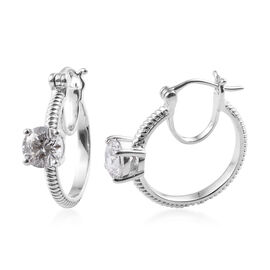 J Francis Platinum Overlay Sterling Silver (Rnd) Earrings (with Clasp) Made with Swarovski Zirconia,