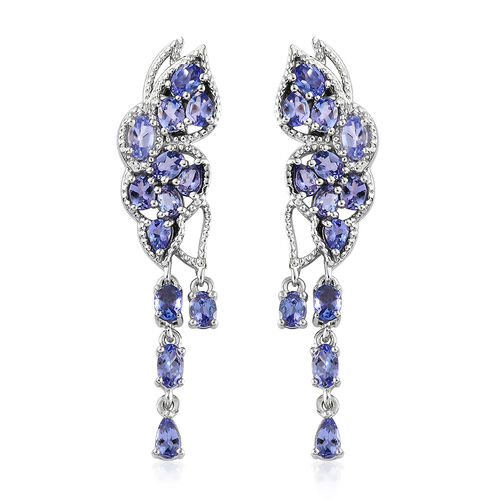Designer Inspired- AA Tanzanite (Ovl) Lusture Drop Earrings with Push Back in Platinum Overlay Sterling Silver 4.750 Ct., Silver wt 7.00 Gms.