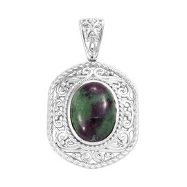 Ruby Zoisite (Ovl 16x12 mm) Pendant in Platinum Overlay Sterling Silver 11.250 Ct.