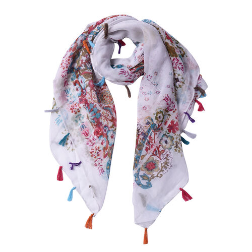 Multi Colour Floral Pattern 100% Viscose White Scarf with Tassels (100x95cm)