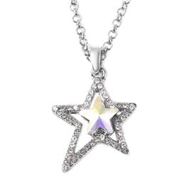 Simulated Mercury Mystic Topaz and White Crystal Star Necklace in Silver Tone 24 Inch