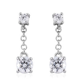 J Francis - Platinum Overlay Sterling Silver (Rnd) Earrings (with Push Back) Made With SWAROVSKI ZIR