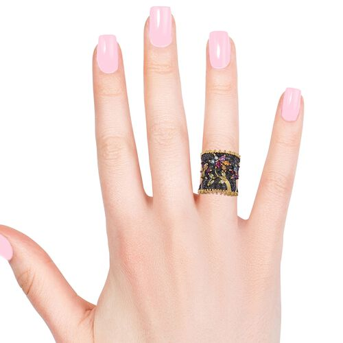 Designer Inspired- Multi Gemstone Flower and Leaves Ring in Black and 14K Gold Overlay Sterling Silver 3.965 Ct. Silver wt 9.84 Gms.