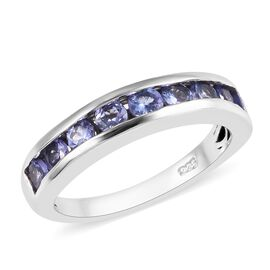 Tanzanite (Rnd) Half Eternity Band Ring in Platinum Overlay Sterling Silver 1.00 Ct.