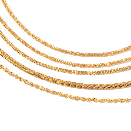 Set of 5 - Snake, Twisted Herringbone, Popcorn, Mesh and Box Necklace (Size 20) in Stainless Steel with Gold Overlay