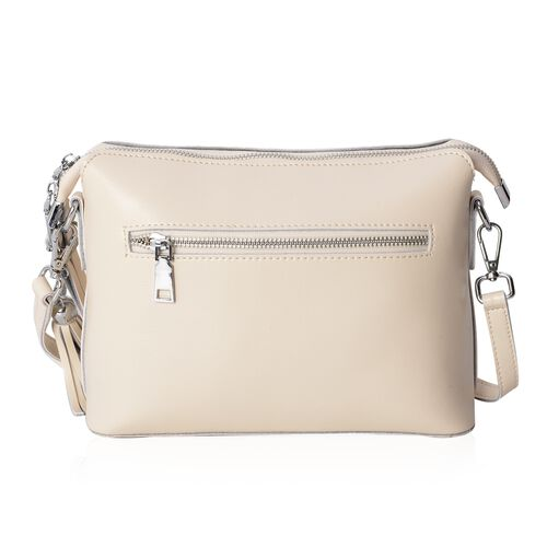 Maddie 100% Genuine Leather Cream Colour Crossbody Bag with Removable Shoulder Strap (Size 24x18x10 Cm)