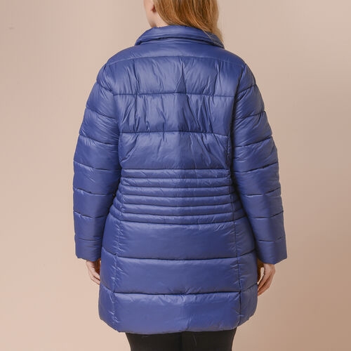 Winter Puffer Jacket with Middle Zip In Blue (Size: L, 18-20)