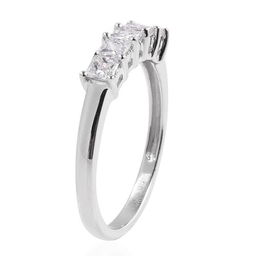 RHAPSODY 950 Platinum Diamond (Princess Cut) 5 Stone Ring IGI Certified (VS/F) 0.50 Carat
