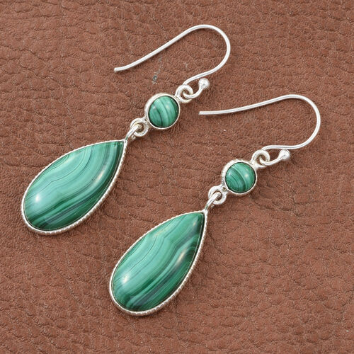 Malachite Earrings (with Hook) in Sterling Silver 27.190 Ct.