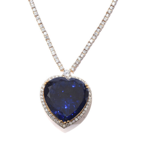 Ceylon Colour Quartz (Hrt 65.00 Ct), Natural White Cambodian Zircon Necklace (Size 18 with 2 inch Extender) in 14K Gold Overlay Sterling Silver 82.750 Ct, Silver wt 29.91 Gms