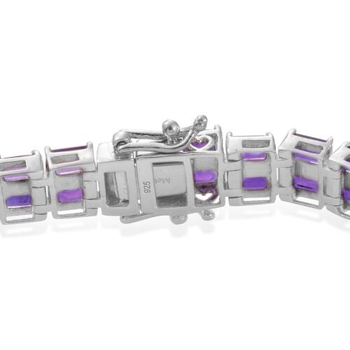 Lusaka Amethyst (Oct 11.75 Ct) Bracelet (Size 7.5) in Platinum Overlay Sterling Silver 27.500 Ct. Silver wt. 22.48 Gms.