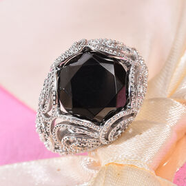 GP Elite Shungite (Rnd), Blue Sapphire Solitaire Ring in Platinum Overlay Sterling Silver 4.53 Ct, Silver wt 6.69 Gms