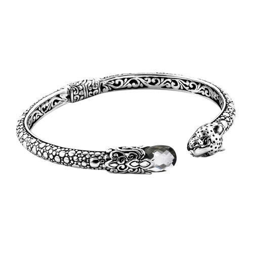 Royal Bali Collection Prasiolite Leopard Head Bangle (Size 7.25) in Sterling Silver Silver wt 25.68 Gms