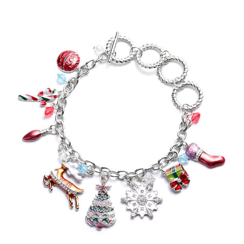 Pink and White Colour Austrian Crystal and Simulated Multi Gemstone Christmas Theme Enamelled Charm