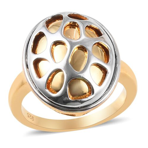 Platinum and Yellow Gold Overlay Sterling Silver Ring, Silver wt 5.70 Gms