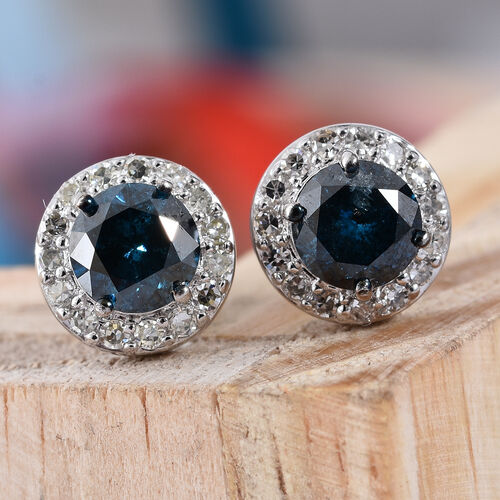 Close Out Deal- 9K White Gold Blue and White SGL Certified Diamond (Rnd) (I3/G-H) Earrings (with Push Back) 1.750 Ct.