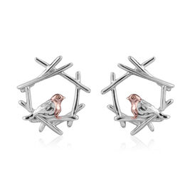 Rose Gold and Platinum Overlay Sterling Silver Robin Bird Earrings (with Push Back)