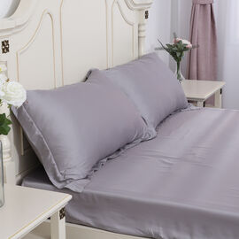 SERENITY NIGHT Set of 2 - 100% Bamboo Oxford Pillow Case - Light Grey