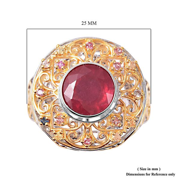 Niassa Ruby, Multi Sapphire Ring in Vermeil Yellow Gold Overlay Sterling Silver 4.15 Ct, Silver Wt 9.90 Gms
