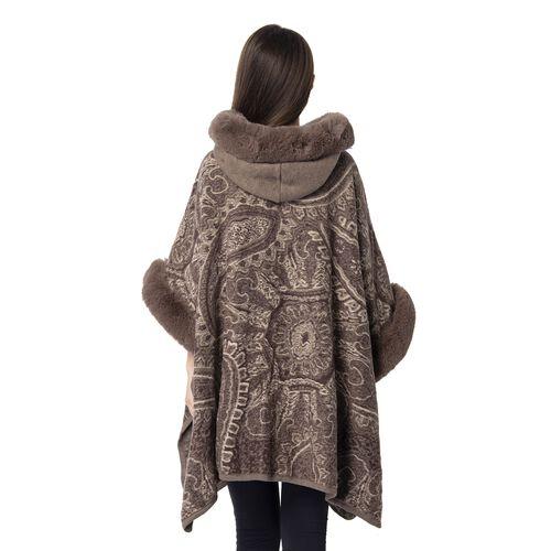 Last Chance-Brown Colour Faux Fur Hat Cape with Cashew Flower Pattern (Size 114.3 x 78.74 Cm)