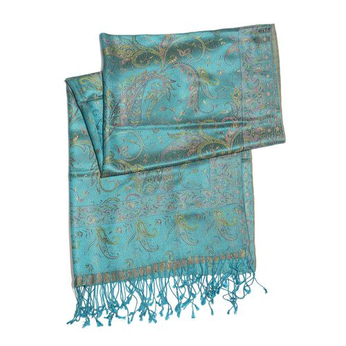 SILK MARK - 100% Superfine Silk Green and Multi Colour Paisley and Leaves Pattern Turquoise Colour Jacquard Jamawar Shawl with Fringes (Size 180x70 Cm) (Weight 125-140 Grams)
