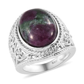 11.25 Ct Ruby Zoisite Solitaire Ring in Platinum Plated Sterling Silver 6 Grams