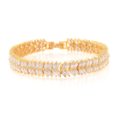 ELANZA Simulated White Diamond (Mrq) Double Strand Bracelet (Size 8) in 14K Gold Overlay Sterling Silver, Silver wt. 19.50 Gms.