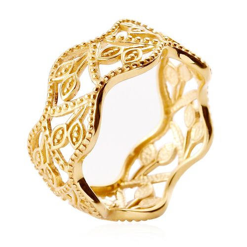 White Diamond Leaf Vine Ring in 14K Gold Overlay Sterling Silver