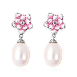 GP Freshwater Pearl and Multi Gemstone Enamelled Floral Drop Earrings in Rhodium Plated Silver