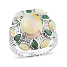 5 Ct Ethiopian Welo Opal and Kagem Zambian Emerald Floral Ring (Size L) in Platinum Plated Silver 6.05 Grams