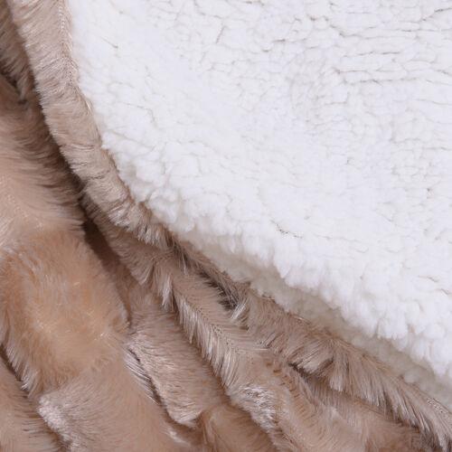 Embossed Checker Pattern Faux Fur Sherpa Blanket (150x200cm) - Light Brown Colour