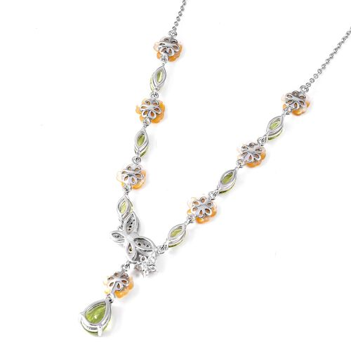 Jardin Collection - Yellow Mother of Pearl, Hebei Peridot, Russian Diopside and Natural White Cambodian Zircon Necklace (Size 18) in Rhodium Overlay Sterling Silver, Silver wt 7.80 Gms.