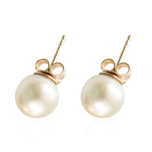 One Time Deal-9K Yellow Gold White South Sea Pearl (Rnd) Earrings (with Push Back)