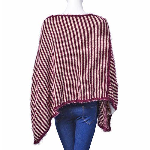 Burgundy and White Colour Stripe Pattern Poncho (Free Size)