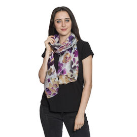 100% Mulberry Silk Picasso Lilly Floral Printed Purple, Pink and Multi Colour Scarf (Size 180x100 Cm