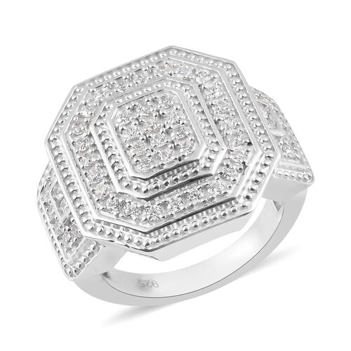 J Francis Platinum Overlay Sterling Silver Cluster Ring Made with SWAROVSKI ZIRCONIA 1.46 Ct, Silver