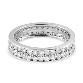 9K White Gold  SGL Certified Diamond (I3/ G-H) Two Row Full Eternity Ring 1.75 Ct.
