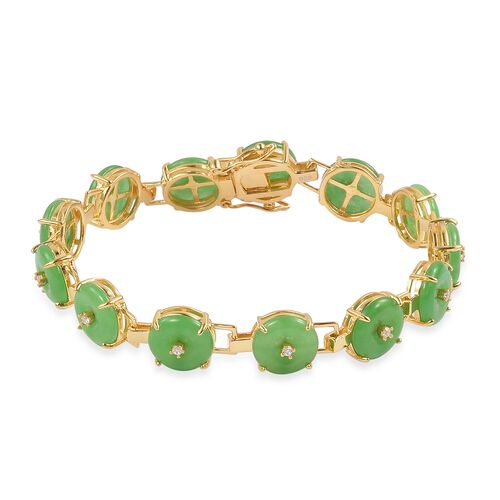 Green Jade and Natural White Cambodian Zircon Bracelet (Size 6.5) in Yellow Gold Overlay Sterling Si