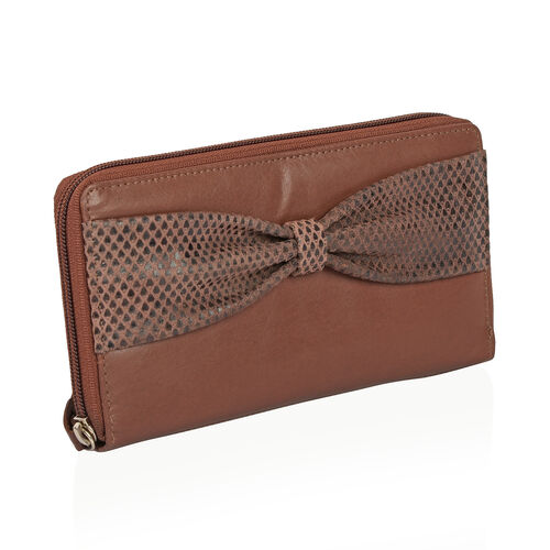 Italian Tan 100% Genuine Leather Bow Design RFID Blocking Clutch Wallet (Size 19x2.5x10 cm Large Phone Can Fit In)