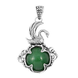 Royal Bali Collection Green Jade (Rnd) Swan Filigree Pendant in Sterling Silver 34.650 Ct