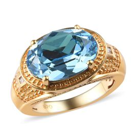 J Francis - Crystal from Swarovski Aquamarine Colour Crystal and Diamond Ring in 18K Yellow Gold Pla