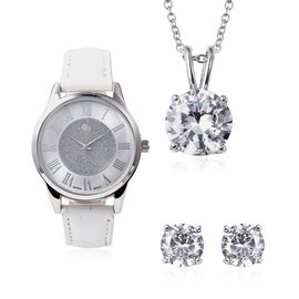 3 Piece Set - Simulated Diamond (Rnd) Pendant with Chain (Size 20), Stud Earrings (with Push Back) a