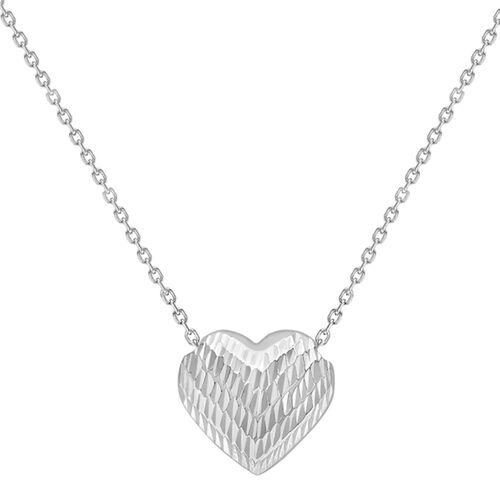 9K White Gold Diamond Cut Sliding Heart Pendant with Chain (Size 17)