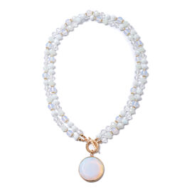 Opalite (Rnd), Simulated Diamond and Simulated White Bead Double Row Beads Necklace (Size 36)